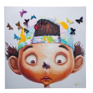 Obraz s ručními tahy Boy with Butterflys 100x100cm