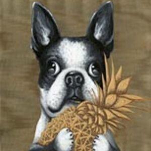 Obraz s ručními tahy Dog with Pineapple 80×80 cm