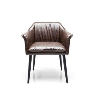 Hnědá čalouněná židle s područkami Diner