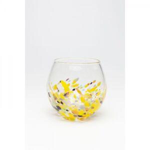 Žlutá skleněná kulatá váza Abstract Dots 19cm
