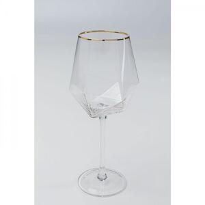 Sklenice na víno Diamond se zlatým proužkem