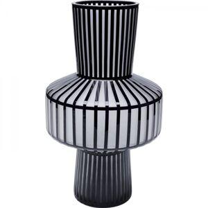 Černo-bílá skleněná váza Roulette Belly 42cm