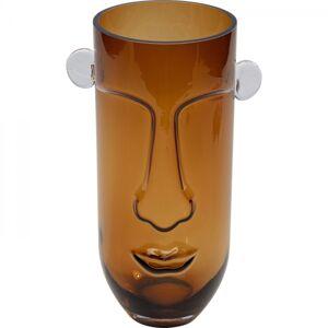 Hnědá skleněná Váza Long Face 28cm