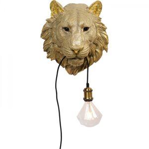Nástěnná lampa Zlatá lvice s žárovkou v tlamě
