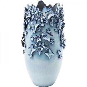 Vysoká modrá kameniková váza Butterflies 50 cm