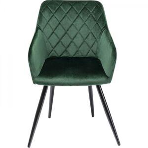 Zelená čalouněná židle s područkami Bretagne