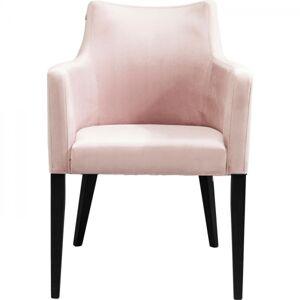 Růžová čalouněná židle s područkami Black Mode Velvet