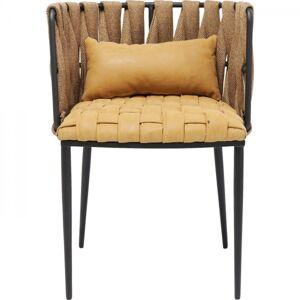 Hnědá polstrovaná jídelní židle s polštářkem Cheerio Yellow