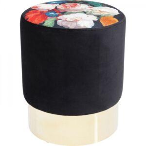 Černá stolička s květy Cherry - sokl mosaz