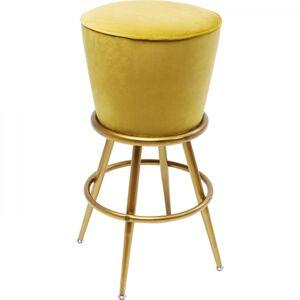 Žlutá čalouněná barová stolička Lady Rock