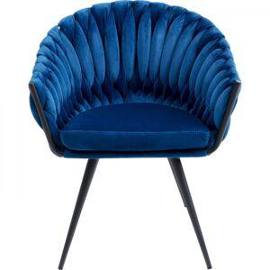 Modrá polstrovaná židle s područkami Knot